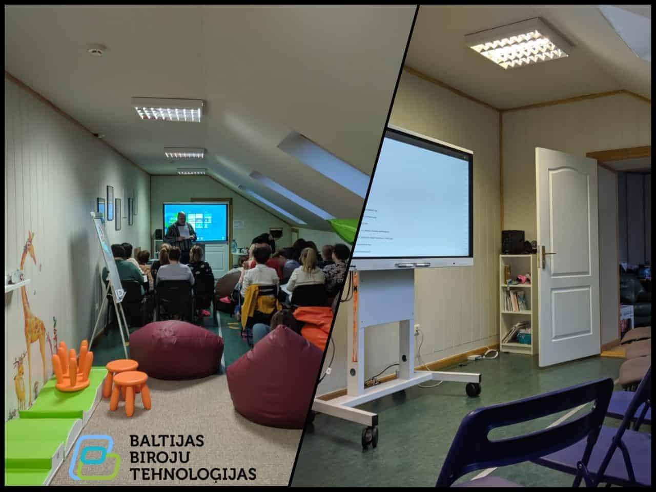 Interaktīvā ekrāna uzstādīšana un apmācība Krāslavas māmiņu klubā